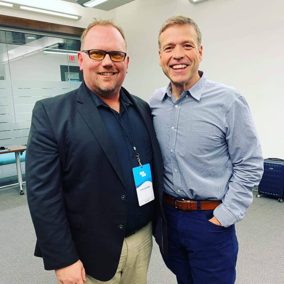 Donald Miller of StoryBrand standing with new Certified Guide Chris Gensheer of Empathy Marketing Group!